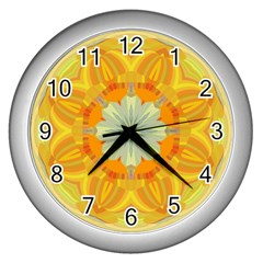 Sunshine Sunny Sun Abstract Yellow Wall Clocks (silver)  by Nexatart