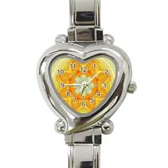 Sunshine Sunny Sun Abstract Yellow Heart Italian Charm Watch by Nexatart