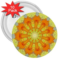 Sunshine Sunny Sun Abstract Yellow 3  Buttons (10 Pack)  by Nexatart