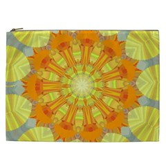 Sunshine Sunny Sun Abstract Yellow Cosmetic Bag (xxl)  by Nexatart