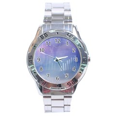 Business Background Blue Corporate Stainless Steel Analogue Watch by Nexatart