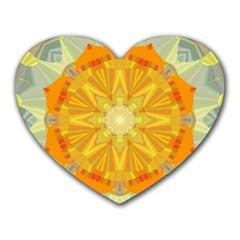 Sunshine Sunny Sun Abstract Yellow Heart Mousepads by Nexatart
