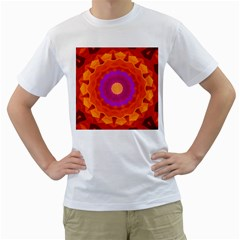Mandala Orange Pink Bright Men s T Shirt (white) (two Sided)