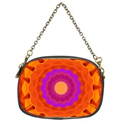 Mandala Orange Pink Bright Chain Purses (one Side)  by Nexatart
