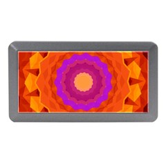 Mandala Orange Pink Bright Memory Card Reader (mini) by Nexatart