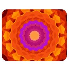 Mandala Orange Pink Bright Double Sided Flano Blanket (medium)  by Nexatart