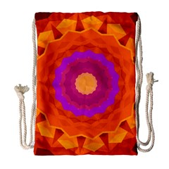 Mandala Orange Pink Bright Drawstring Bag (large) by Nexatart