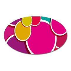 Paint Circle Red Pink Yellow Blue Green Polka Oval Magnet by Mariart