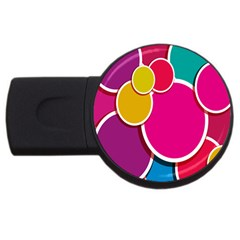 Paint Circle Red Pink Yellow Blue Green Polka Usb Flash Drive Round (4 Gb) by Mariart