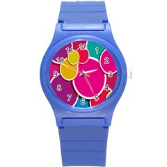 Paint Circle Red Pink Yellow Blue Green Polka Round Plastic Sport Watch (s) by Mariart