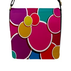 Paint Circle Red Pink Yellow Blue Green Polka Flap Messenger Bag (l)  by Mariart