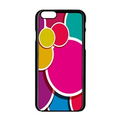 Paint Circle Red Pink Yellow Blue Green Polka Apple Iphone 6/6s Black Enamel Case by Mariart