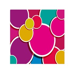 Paint Circle Red Pink Yellow Blue Green Polka Small Satin Scarf (square) by Mariart