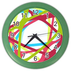 Nets Network Green Red Blue Line Color Wall Clocks by Mariart
