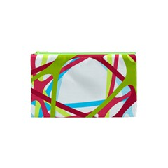 Nets Network Green Red Blue Line Cosmetic Bag (xs) by Mariart