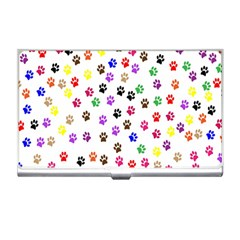 Paw Prints Dog Cat Color Rainbow Animals Business Card Holders by Mariart