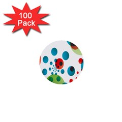 Polka Dot Circle Red Blue Green 1  Mini Buttons (100 Pack)  by Mariart