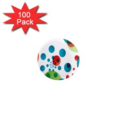 Polka Dot Circle Red Blue Green 1  Mini Magnets (100 Pack)  by Mariart
