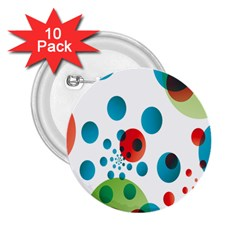 Polka Dot Circle Red Blue Green 2 25  Buttons (10 Pack)  by Mariart