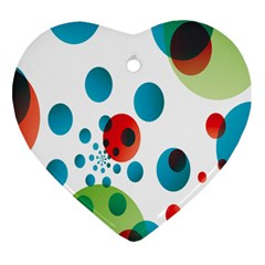Polka Dot Circle Red Blue Green Heart Ornament (two Sides) by Mariart