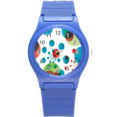 Polka Dot Circle Red Blue Green Round Plastic Sport Watch (s) by Mariart
