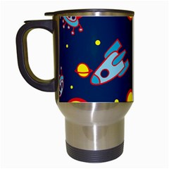 Rocket Ufo Moon Star Space Planet Blue Circle Travel Mugs (white) by Mariart