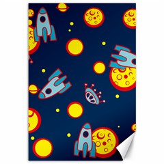 Rocket Ufo Moon Star Space Planet Blue Circle Canvas 12  X 18   by Mariart
