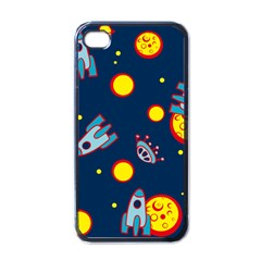 Rocket Ufo Moon Star Space Planet Blue Circle Apple Iphone 4 Case (black) by Mariart