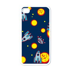 Rocket Ufo Moon Star Space Planet Blue Circle Apple Iphone 4 Case (white) by Mariart