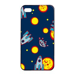 Rocket Ufo Moon Star Space Planet Blue Circle Apple Iphone 4/4s Seamless Case (black) by Mariart