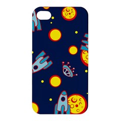 Rocket Ufo Moon Star Space Planet Blue Circle Apple Iphone 4/4s Hardshell Case by Mariart