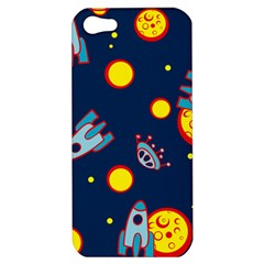 Rocket Ufo Moon Star Space Planet Blue Circle Apple Iphone 5 Hardshell Case by Mariart