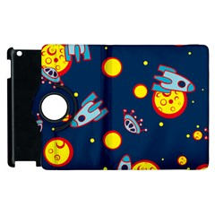 Rocket Ufo Moon Star Space Planet Blue Circle Apple Ipad 3/4 Flip 360 Case by Mariart