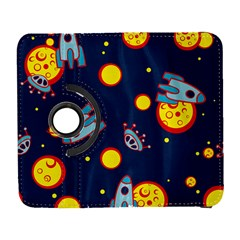 Rocket Ufo Moon Star Space Planet Blue Circle Galaxy S3 (flip/folio) by Mariart