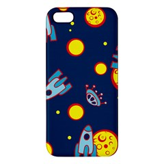 Rocket Ufo Moon Star Space Planet Blue Circle Apple Iphone 5 Premium Hardshell Case by Mariart