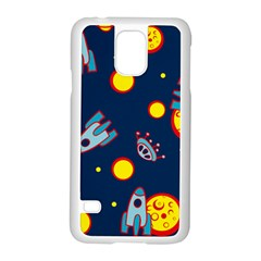 Rocket Ufo Moon Star Space Planet Blue Circle Samsung Galaxy S5 Case (white) by Mariart
