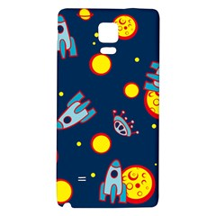 Rocket Ufo Moon Star Space Planet Blue Circle Galaxy Note 4 Back Case by Mariart