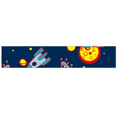 Rocket Ufo Moon Star Space Planet Blue Circle Flano Scarf (large) by Mariart