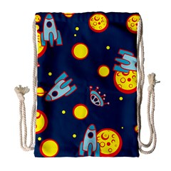 Rocket Ufo Moon Star Space Planet Blue Circle Drawstring Bag (large) by Mariart