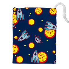 Rocket Ufo Moon Star Space Planet Blue Circle Drawstring Pouches (xxl) by Mariart