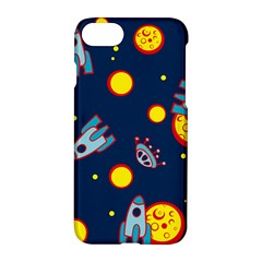 Rocket Ufo Moon Star Space Planet Blue Circle Apple Iphone 7 Hardshell Case by Mariart