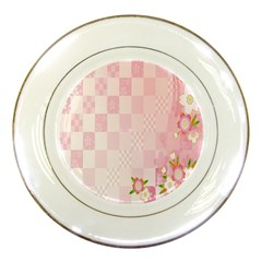 Sakura Flower Floral Pink Star Plaid Wave Chevron Porcelain Plates by Mariart