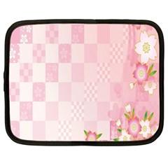 Sakura Flower Floral Pink Star Plaid Wave Chevron Netbook Case (xl)  by Mariart