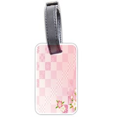 Sakura Flower Floral Pink Star Plaid Wave Chevron Luggage Tags (two Sides) by Mariart