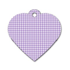 Plaid Purple White Line Dog Tag Heart (one Side) by Mariart