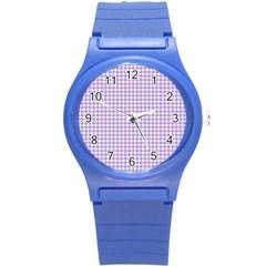 Plaid Purple White Line Round Plastic Sport Watch (s) by Mariart