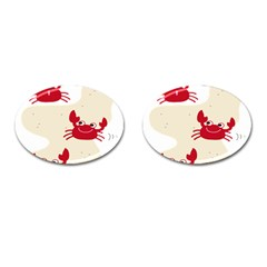 Sand Animals Red Crab Cufflinks (oval) by Mariart