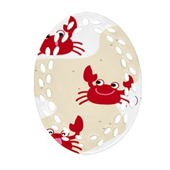 Sand Animals Red Crab Oval Filigree Ornament (two Sides) by Mariart