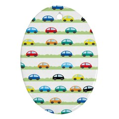 Small Car Red Yellow Blue Orange Black Kids Ornament (oval) by Mariart
