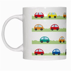 Small Car Red Yellow Blue Orange Black Kids White Mugs by Mariart
